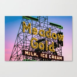 Route 66 Tulsa Meadow Gold Neon Sign Canvas Print