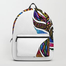 Colorful Watercolor Hand Drawn Tangle Feather Backpack