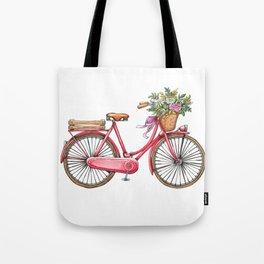 Cute watercolor vintage bike print. Tote Bag