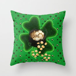 Four Leaf Clovers and Pots of Gold Throw Pillow