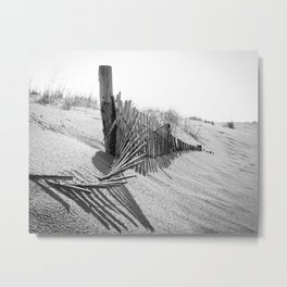 High Key Dunes and Fence Black and White Coastal Landscape Photograph Metal Print