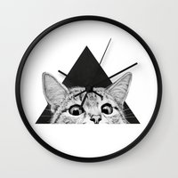 kitty Wall Clocks featuring You asleep yet? by Laura Graves
