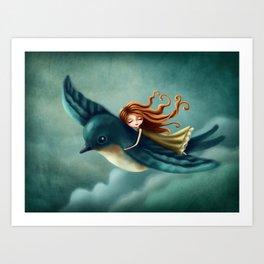 Thumbelina flying with a bird Art Print