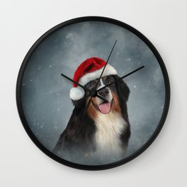 Bernese Mountain Dog in red hat of Santa Claus Wall Clock