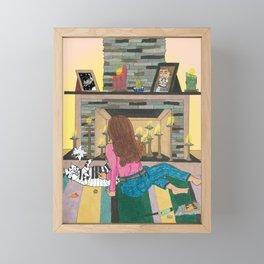 Piano Cat Framed Mini Art Print