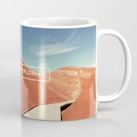 never stop exploring Mugs featuring Never Stop Exploring by Hillary Murphy