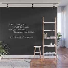 Shakespeare Quote: LOVE (white on black) Wall Mural