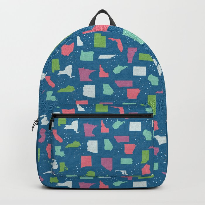 United States on Blue Backpack