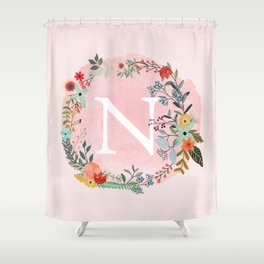 Flower Wreath with Personalized Monogram Initial Letter N on Pink Watercolor Paper Texture Artwork Shower Curtain