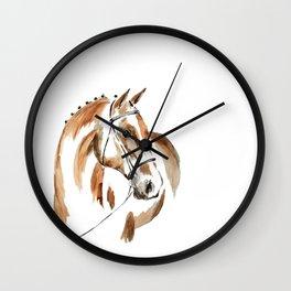 Bay Watercolour Horse Wall Clock