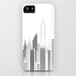 Modern City Buildings And Skyscrapers Sketch, New York Skyline, Wall Art Poster Decor, New York City iPhone Case