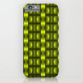 Fashionable large floral from small yellow intersecting squares in stripes dark cage. iPhone Case