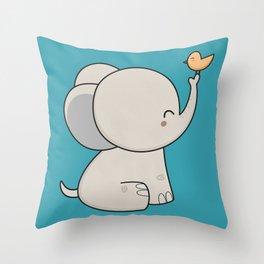 Kawaii Cute Elephant Throw Pillow