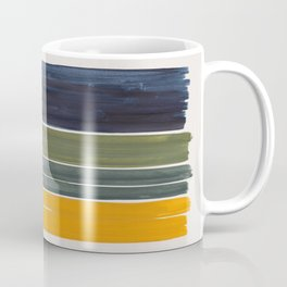 Minimalist Mid Century Color Block Color Field Rothko Navy Blue Olive Green Yellow Pattern by Ejaaz Haniff Coffee Mug