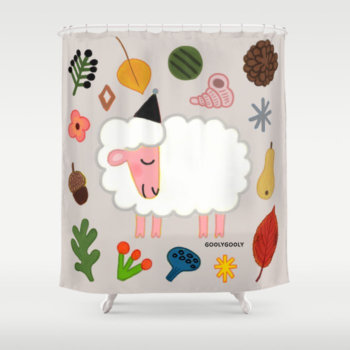 Sheep Shower Curtain By Goolygooly