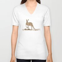 kangaroo V-neck T-shirts featuring Kangaroo by Emma Traynor