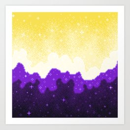 Nonbinary Pride Flag Galaxy Art Print