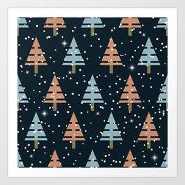 Winter. Christmas tree . Art Print