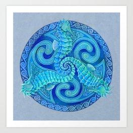 Seahorse Triskele Celtic Blue Spirals Mandala Art Print
