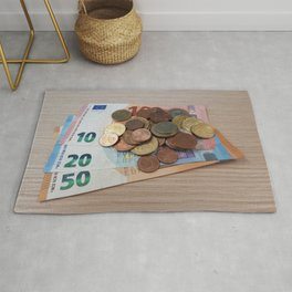 Euro Coins and Bills Rug