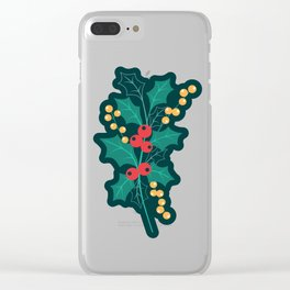 Happy Holly Berry Christmas green decor Clear iPhone Case