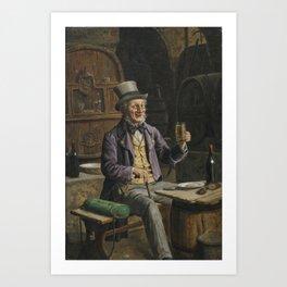 Drinking Beer Painting Art Print