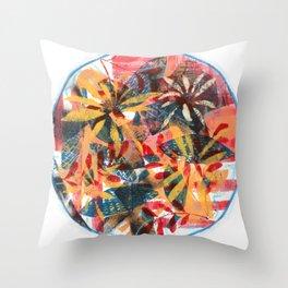 Circular Semi Abstract Foliage Throw Pillow
