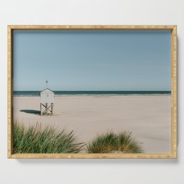 White tiny beach house || Travel Photography || Pastel color Fine art coastal sea ocean vintage Serving Tray