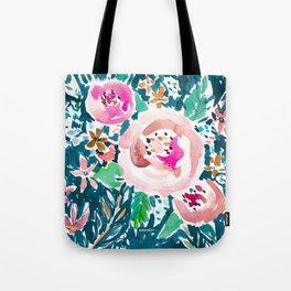 PLENITUDE FLORAL Navy Peach Watercolor Tote Bag