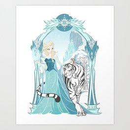Frozen White Tiger Art Print
