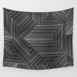 Geometric pattern, black and white Wall Tapestry
