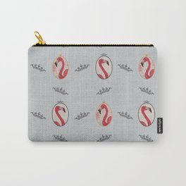 the royal pink flamingo king and queen pattern blue Carry-All Pouch