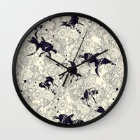 threadless Wall Clocks featuring Hide and Seek by nicebleed