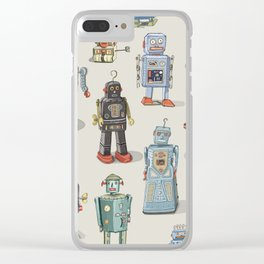 Vintage Style Robot Collection Clear iPhone Case