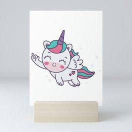 Sweets flying unicorn Mini Art Print
