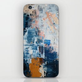 Shapes in the Clouds: a vibrant mixed-media piece in blues and pinks by Alyssa Hamilton Art iPhone Skin