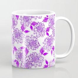 Delicate elegant classy feminine floral pattern. Purple blooming flowers, little leaves. Plants Coffee Mug