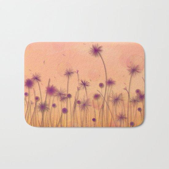 Dreamy Violet Dandelion Flower Garden Bath Mat