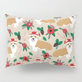 Welsh Corgi poinsettia christmas hat santa little corgi elf pet friendly dog breed gifts Pillow Sham