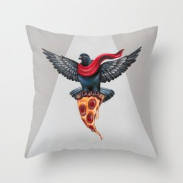 Pigeon with Pizza Throw Pillow
