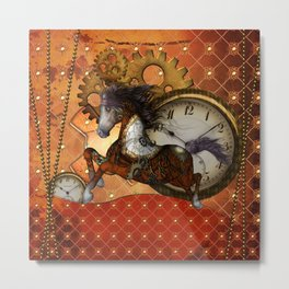 Steampunk, wonderful wild, red  steampunk horse Metal Print