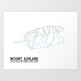 Mt. Ashland, OR - Minimalist Trail Art Art Print