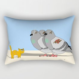 Cat amoung the Pigeons Rectangular Pillow