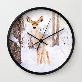 Little Deer in the Snow Wall Clock