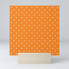 Small White Polka Dots with Orange Background Mini Art Print