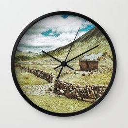 Little House in the Peruvian Andes Wall Clock
