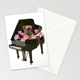 Piano - Boxer Dog - Lotos Flower Blossoms Stationery Cards