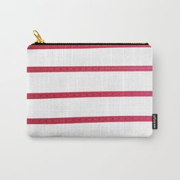 Geometric Minimalist Pink White Stripes Pattern Carry-All Pouch