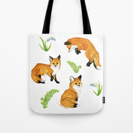 Woodland & Red Foxes Tote Bag