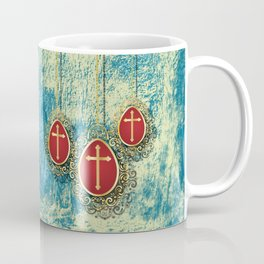 Beautiful Gold Crosses on a pale blue and yellow texture Coffee Mug